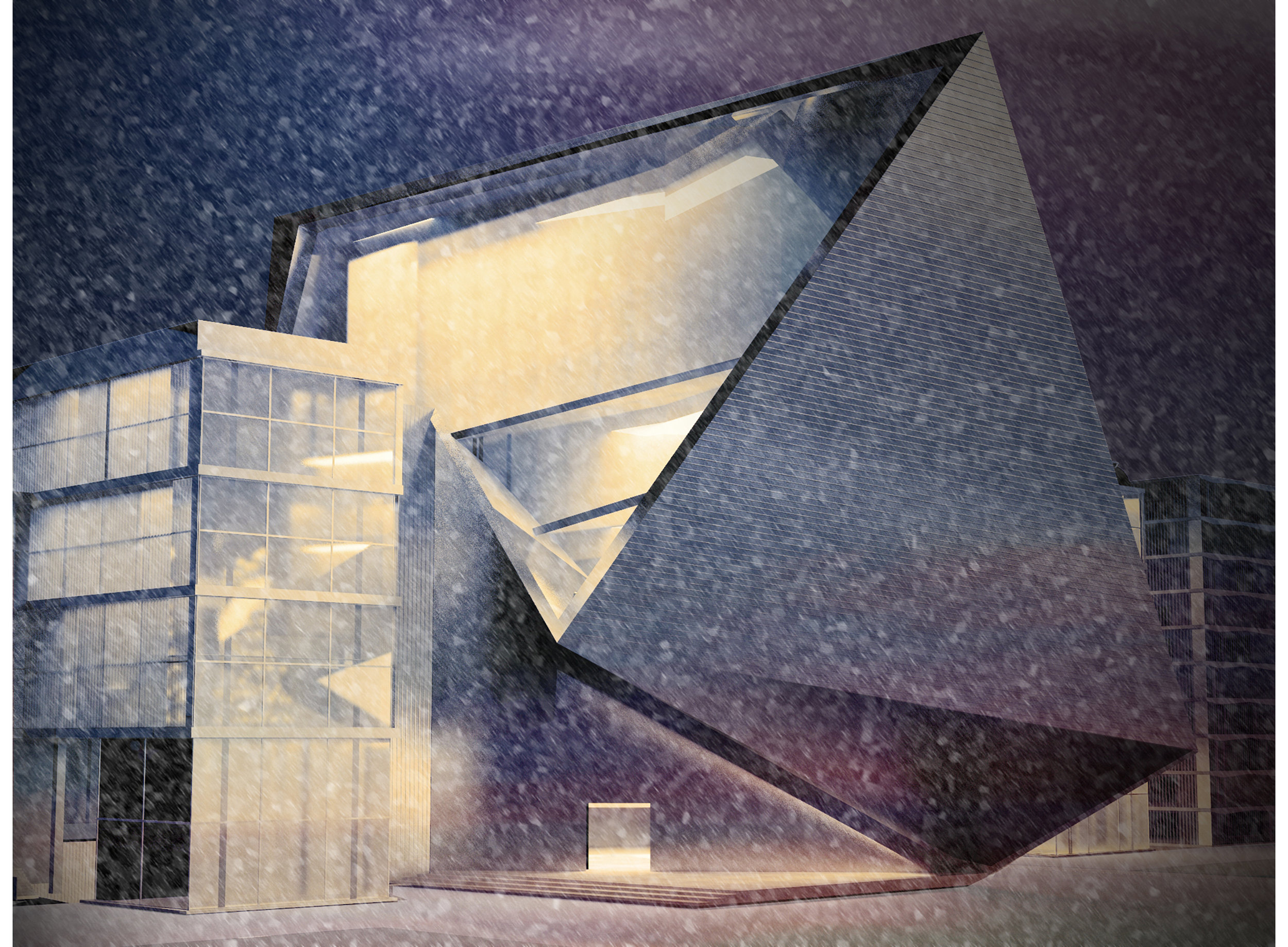 Architectural night 3D render with snow