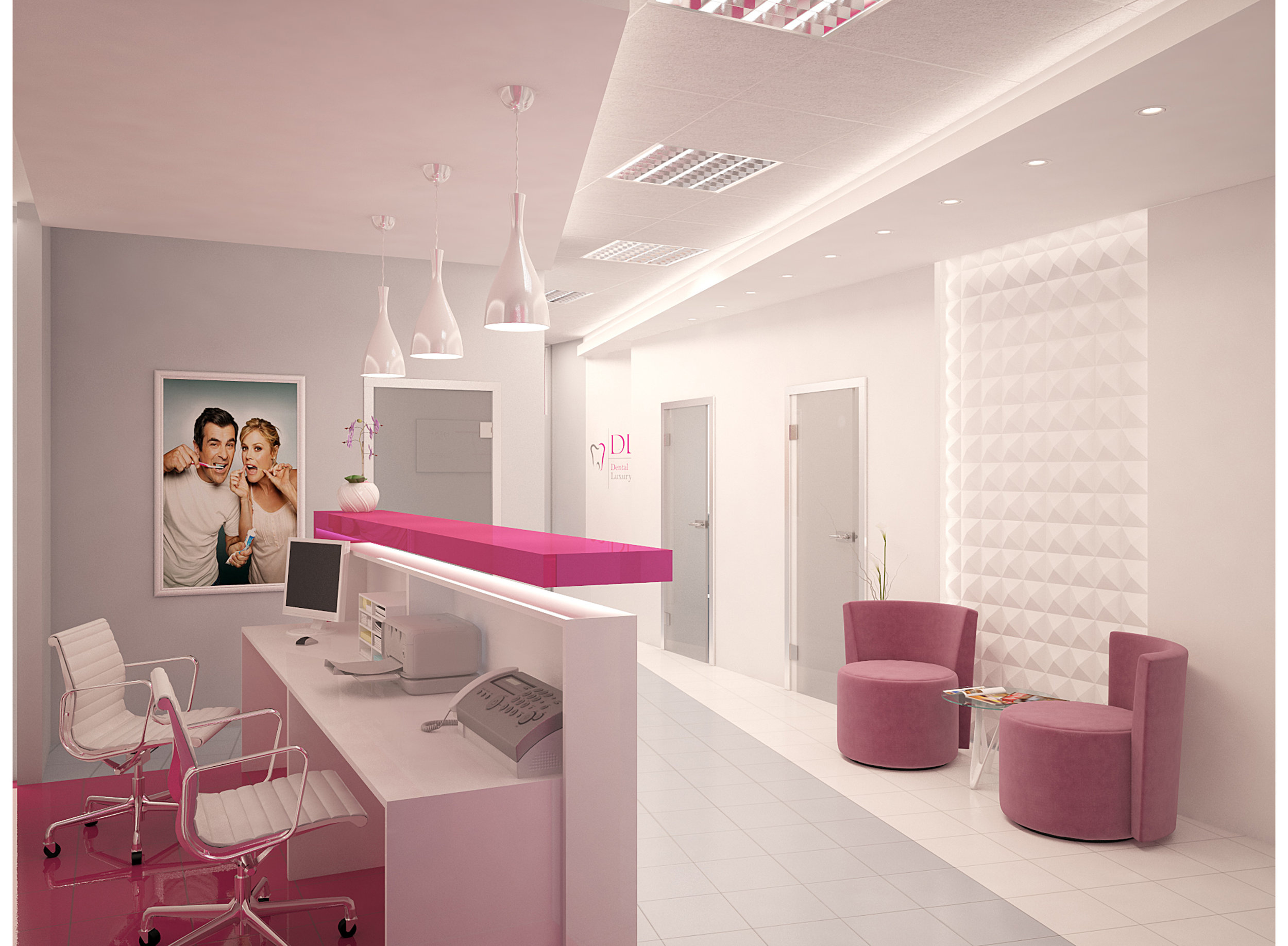 3D interior render of a dental practice