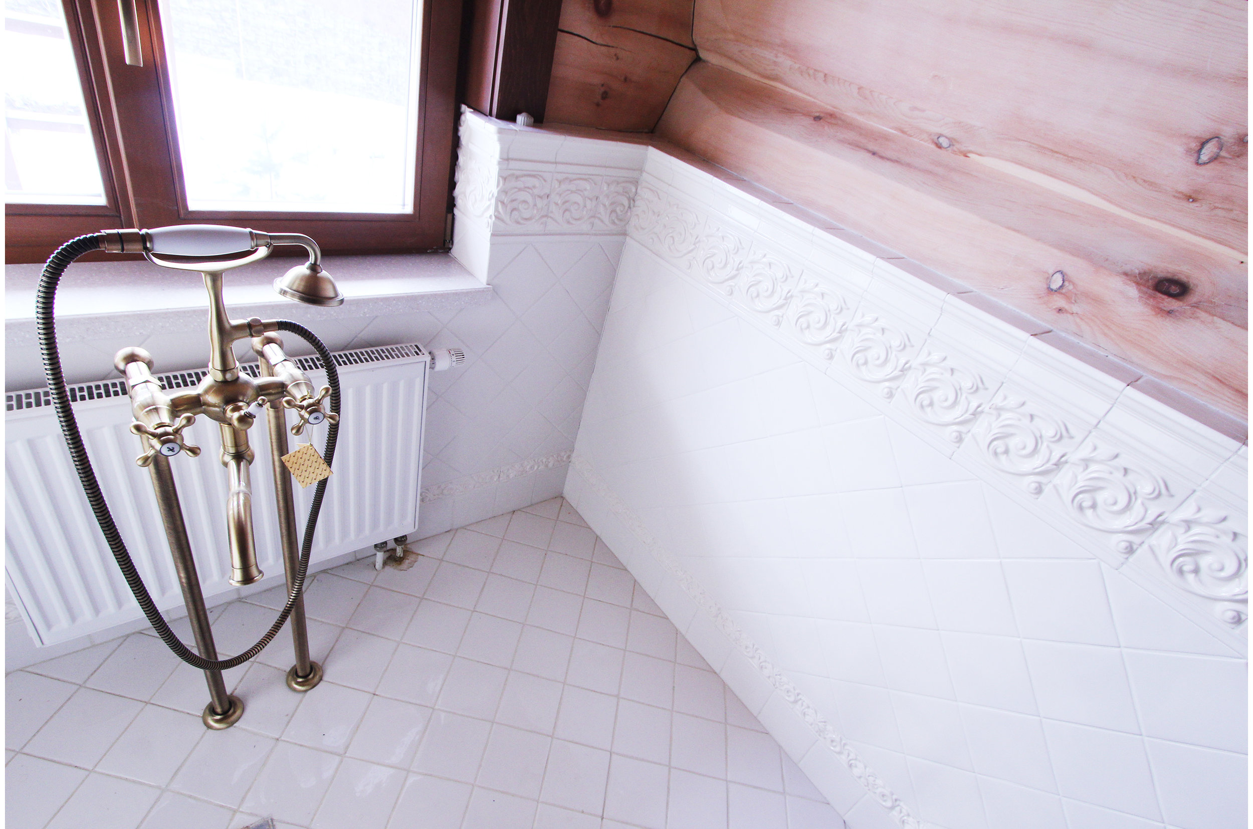 Copy of Classical bathroom interior inside wooden house