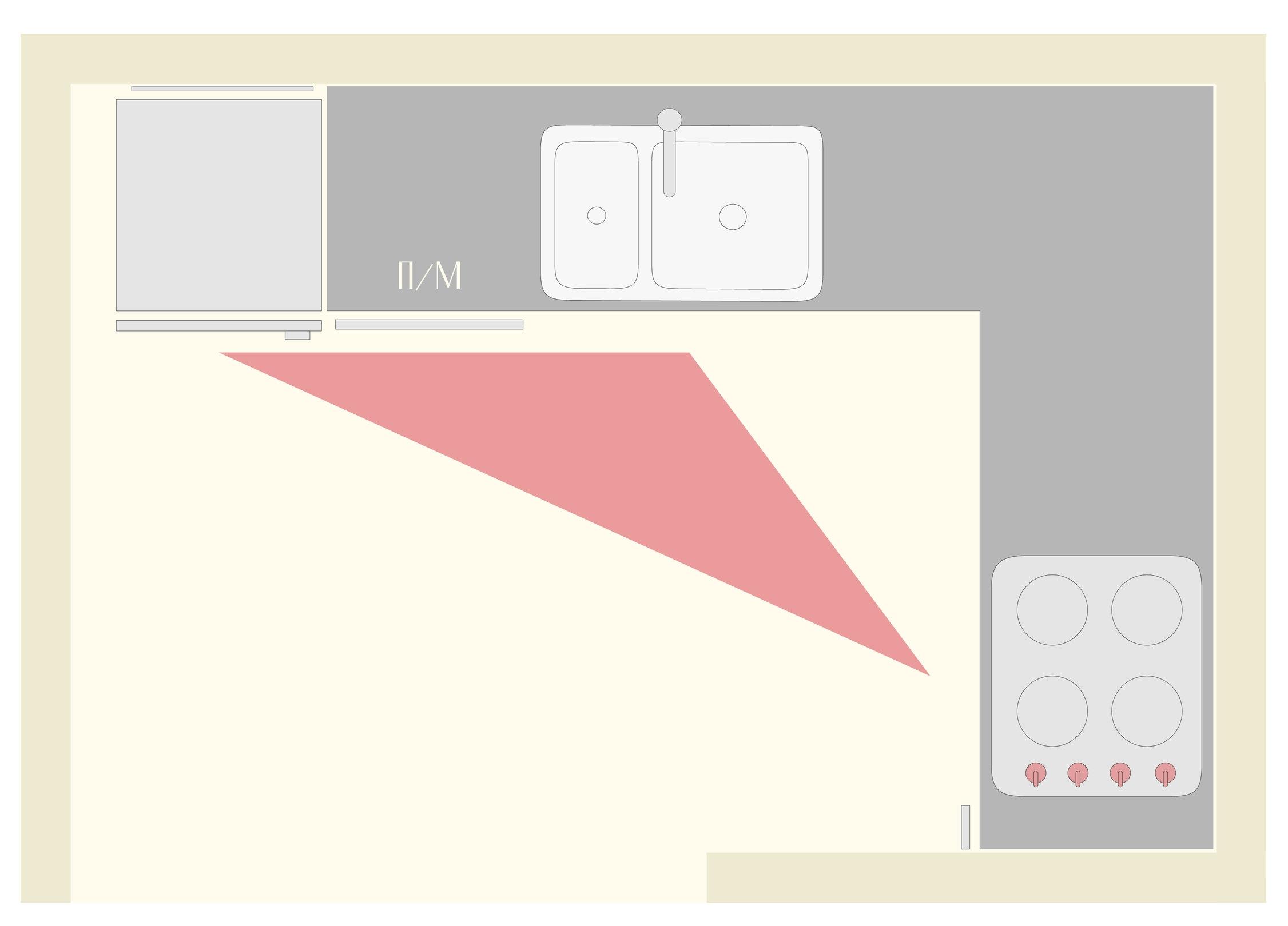 """Пример функционального треугольника на кухне """"Г""""-образной планировки"""