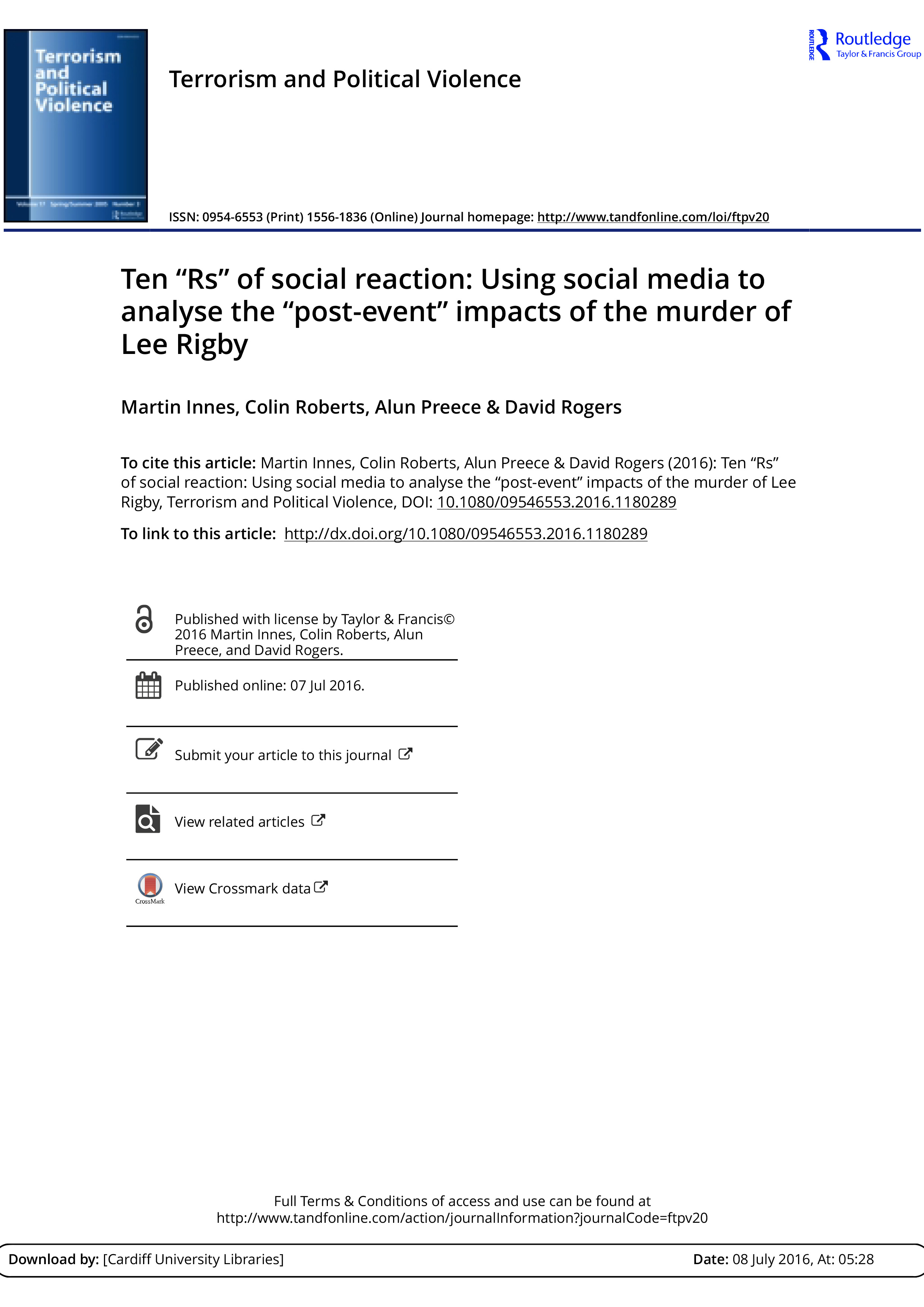 """Ten """"Rs"""" of Social Reaction: Using Social Media to Analyse the """"Post-event"""" Impacts of the Murder of Lee Rigby"""