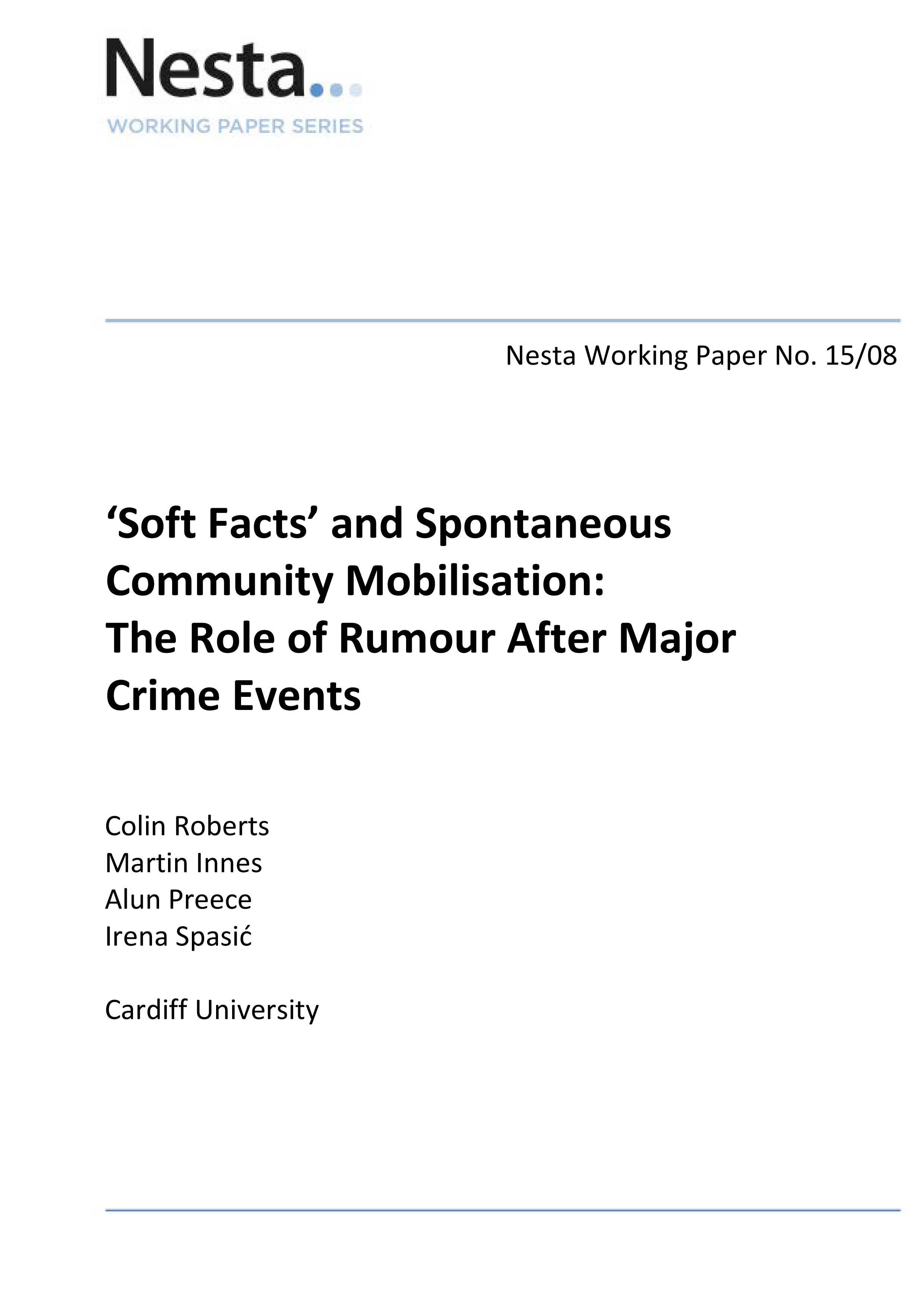 'Soft Facts' and Community Mobilisation: The Role of Rumour After Major Crime Events