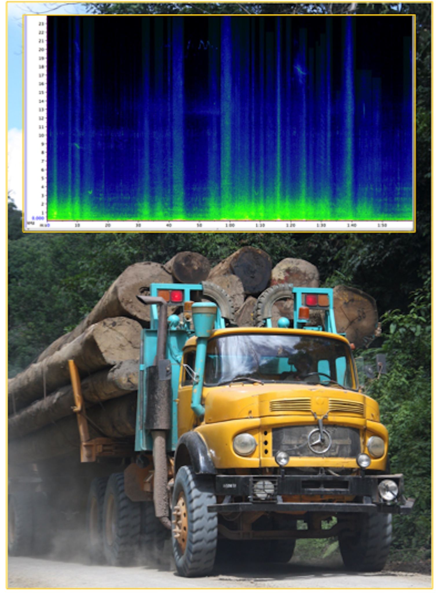 A graph (sonogram) of road noises, above a logging truck.