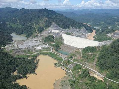 Dam under construction in Sarawak, Borneo