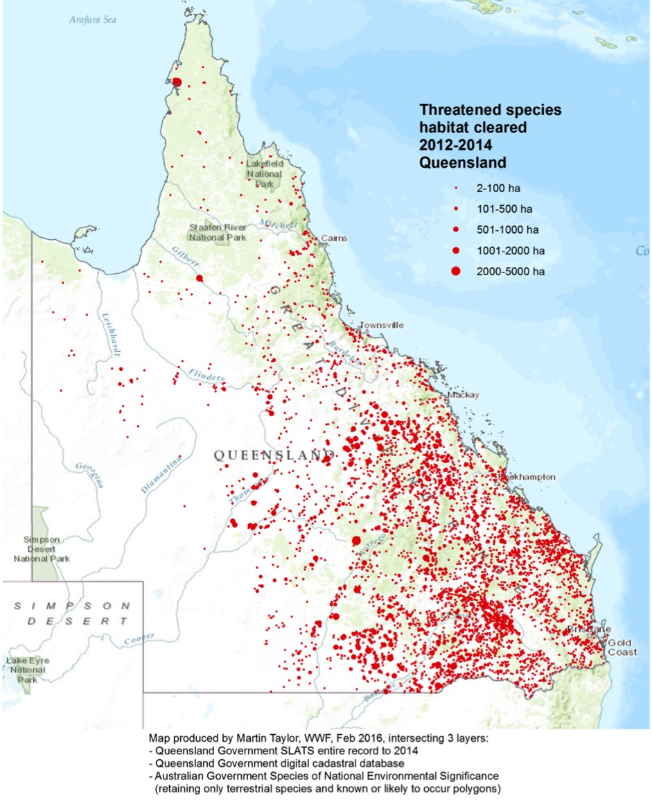 Forests are falling fast just about everywhere in Queensland  (from Martin Taylor, 2016, WWF-Australia).