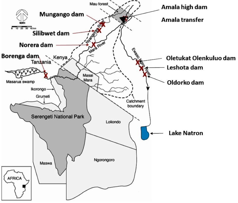 Dams and landscapes mentioned in the text