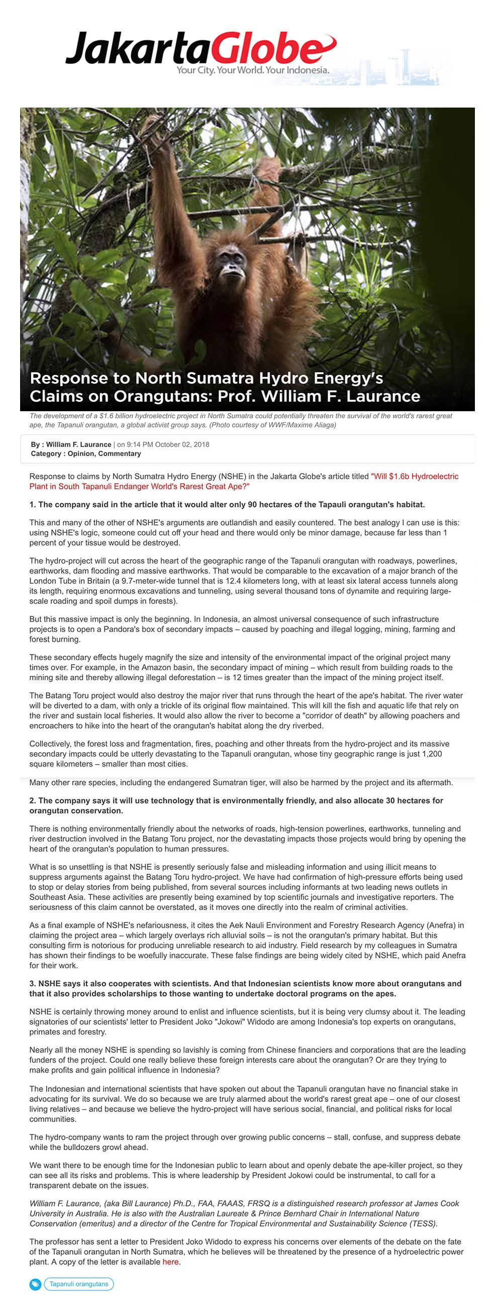 Jakarta Globe Article