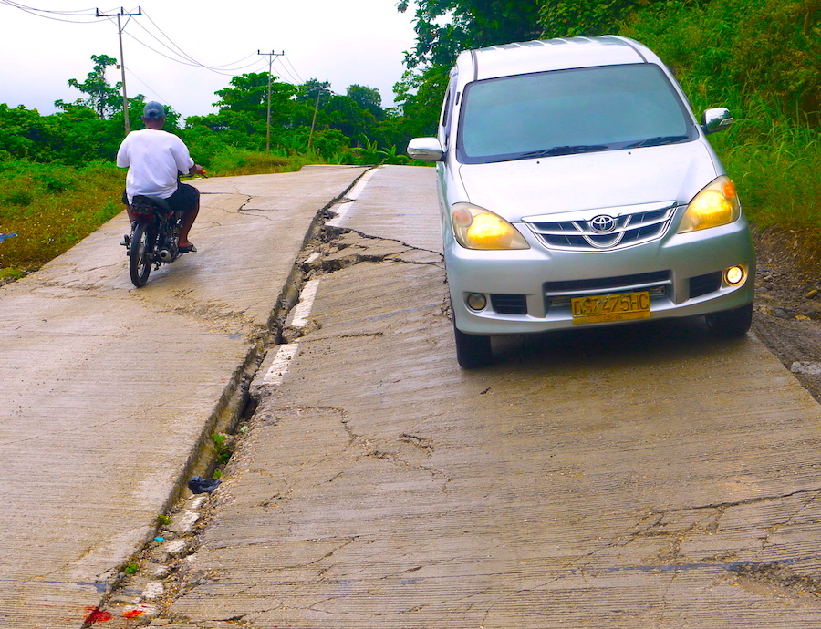 Road slumping in Papua.