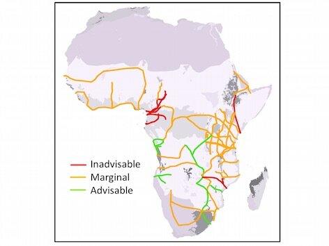 """A maioria dos maciços """"corredores de desenvolvimento"""" da África tem custos ambientais e sociais que excederão seus potenciais benefícios econômicos (de W. Laurance et al. 2015. Current Biology 25: 3202-3208)."""