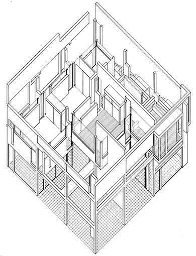 An axonometric drawing of Eisenman's House II, (1975)