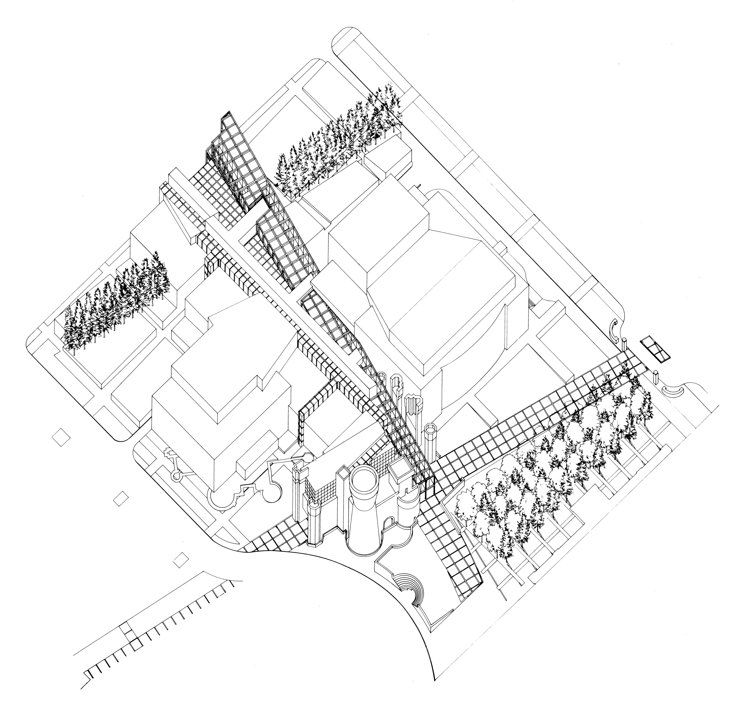 Wexner Center axonometric drawing
