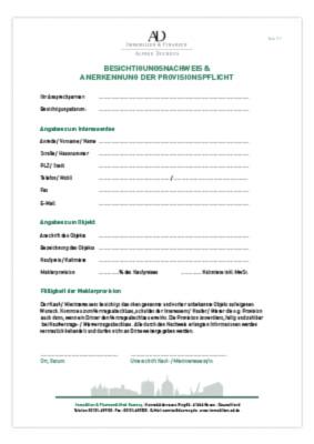 Formular Besichtigungsnachweis