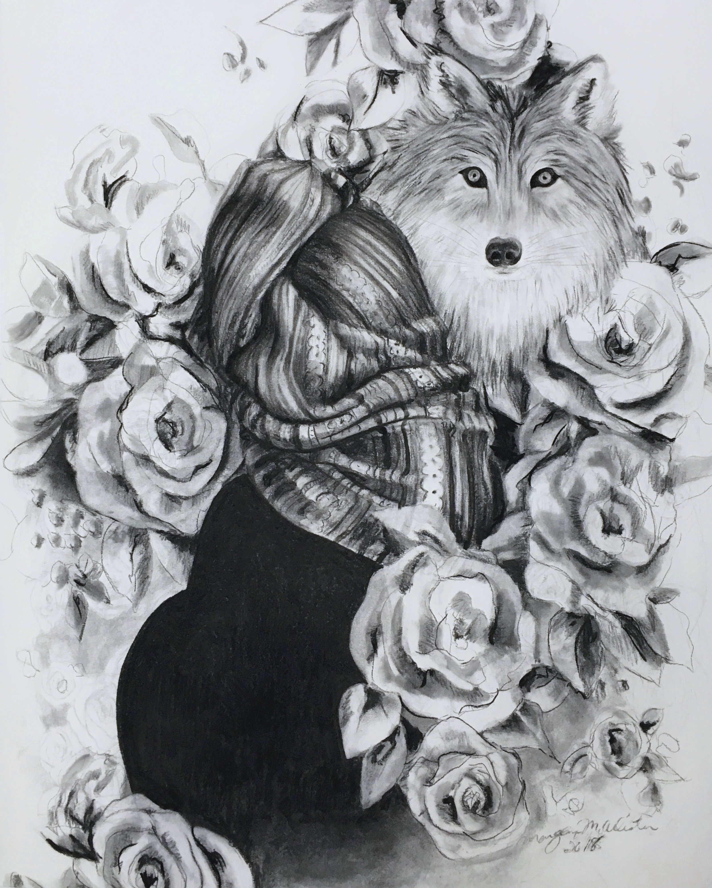 White Roses , charcoal on paper, 2018