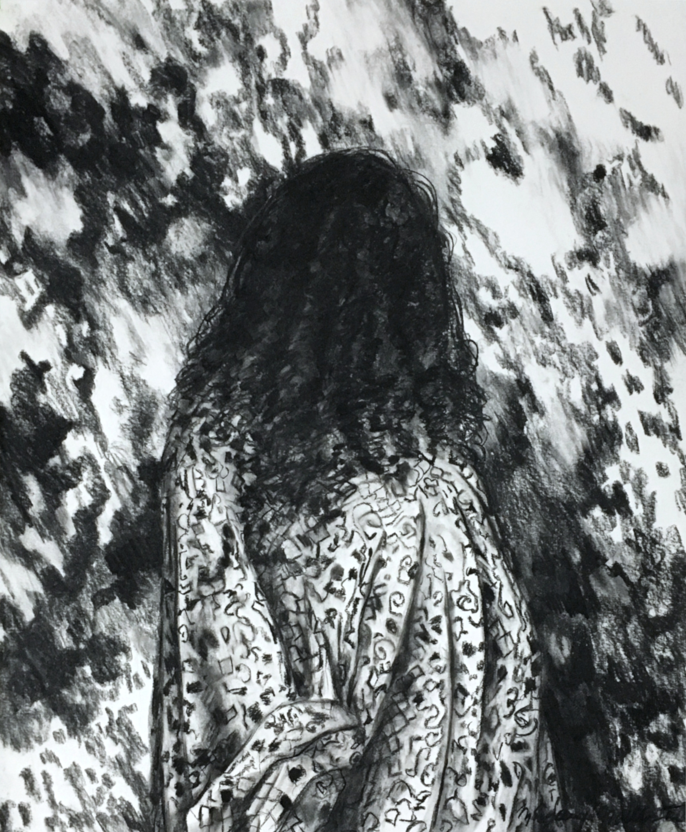 "Myopia , charcoal on paper, 33.5"" x 40.5"", 2018."