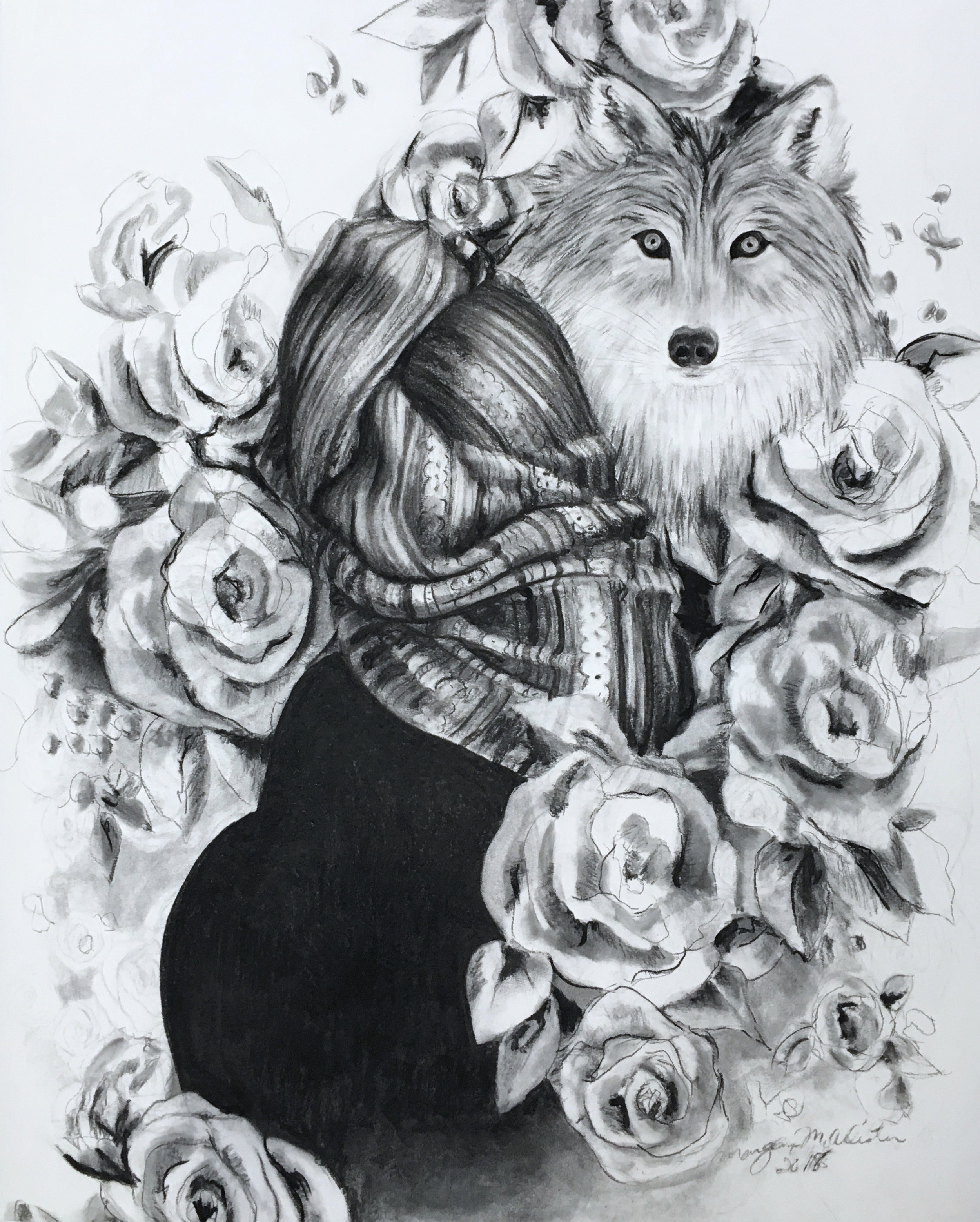 """White Roses , charcoal on paper, 33"""" x 41"""", 2018."""