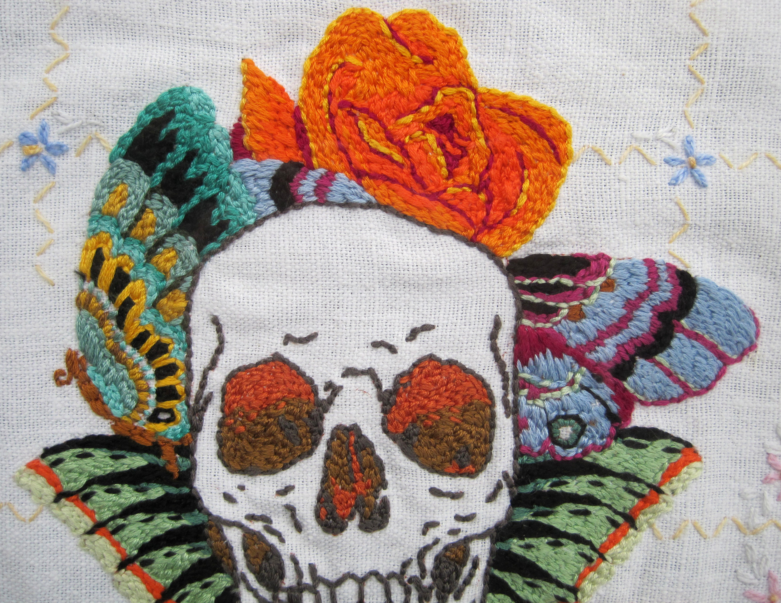 detail,  Orange Roses , hand embroidery on vintage linen, 2013