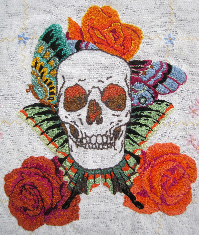 detail,  Orange Roses , hand embroidery on vintage linen, 2013