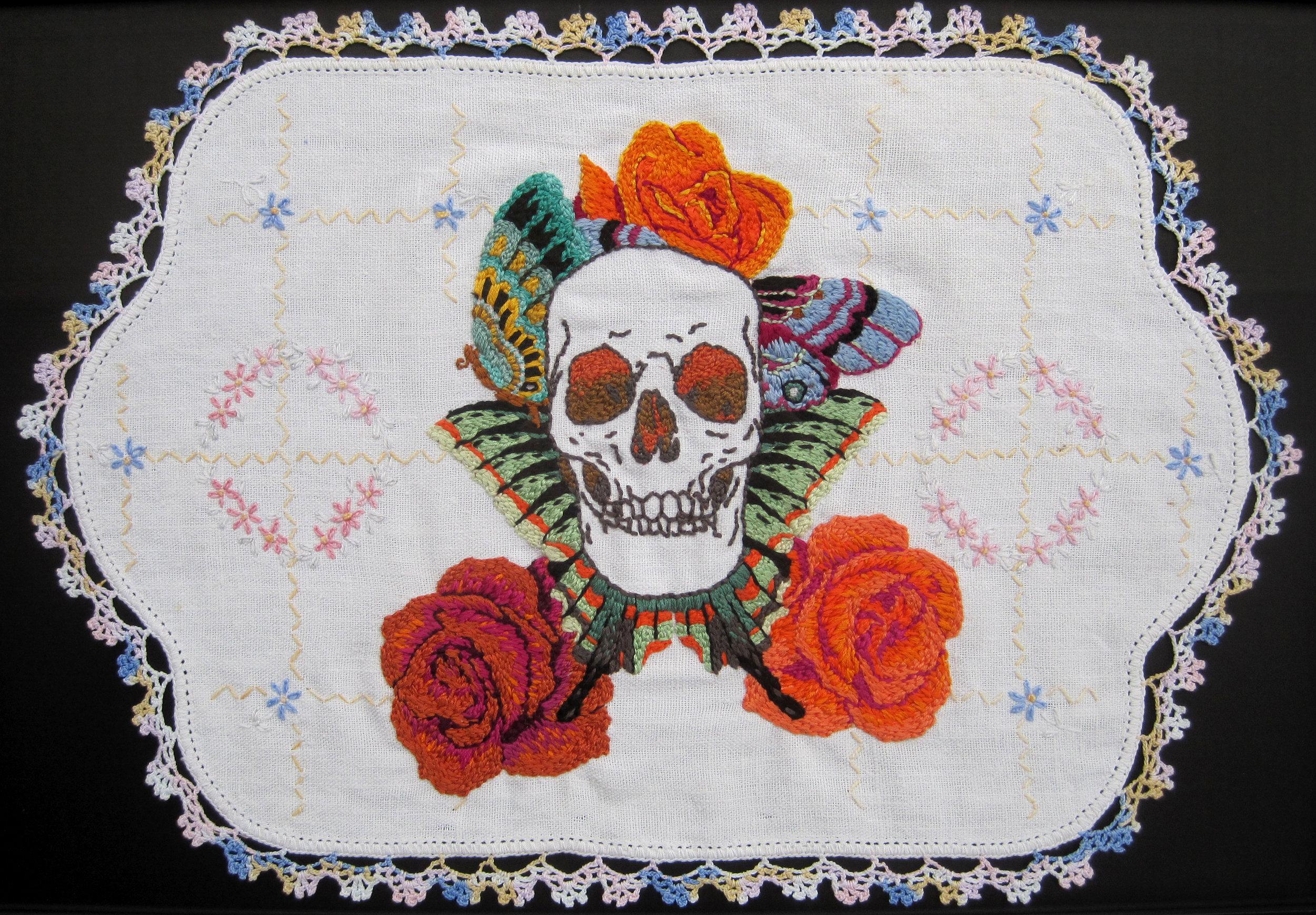 Orange Roses , hand embroidery on vintage linen, 2013