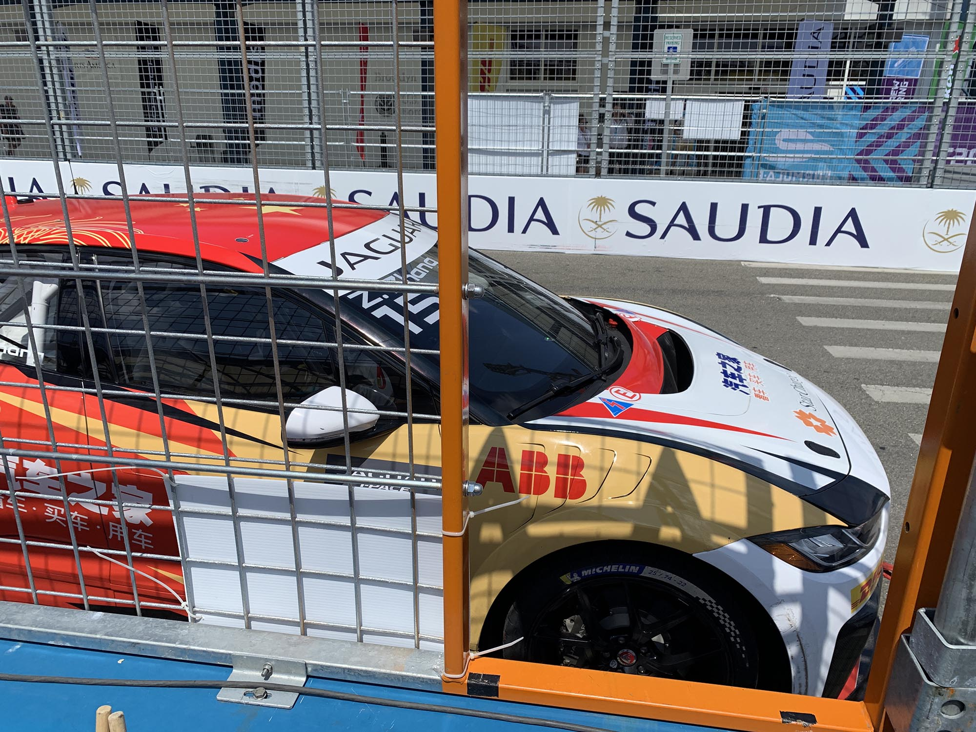 The Jaguar i-Pace support race cars would routinely stop right in front of me at race end