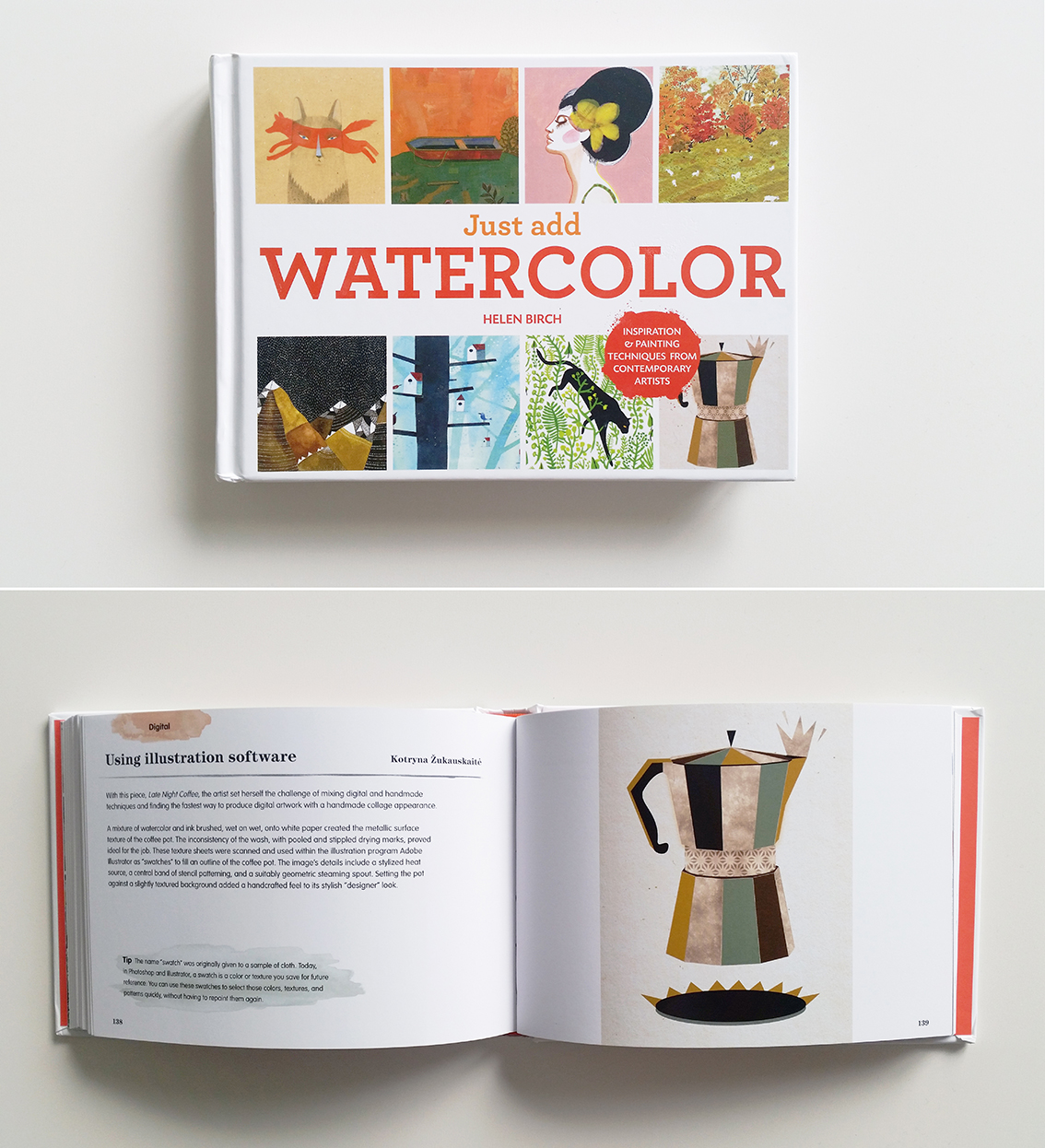 "On the cover of ""Just Add Watercolor"" by Helen Birch. Available at   Amazon"