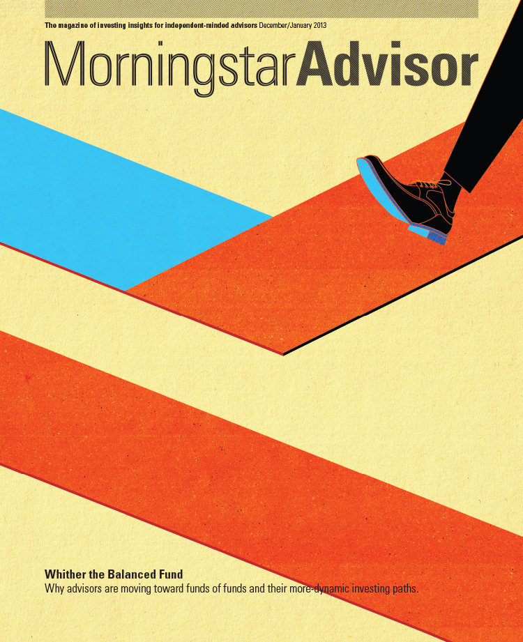 Project: Morningstar Advisor Cover and it's continuation Splash Page on Spotlight theme of Funds of Funds. Client: Morningstar Advisor, 2012