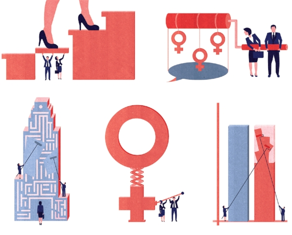 Project:  Next Frontiers in Gender Diversity: spread illustration on closing gender gap.  Client:  Global Management Consulting Firm, 2014