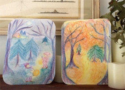 Lantern walk crayon drawings by Emily Paccasassi