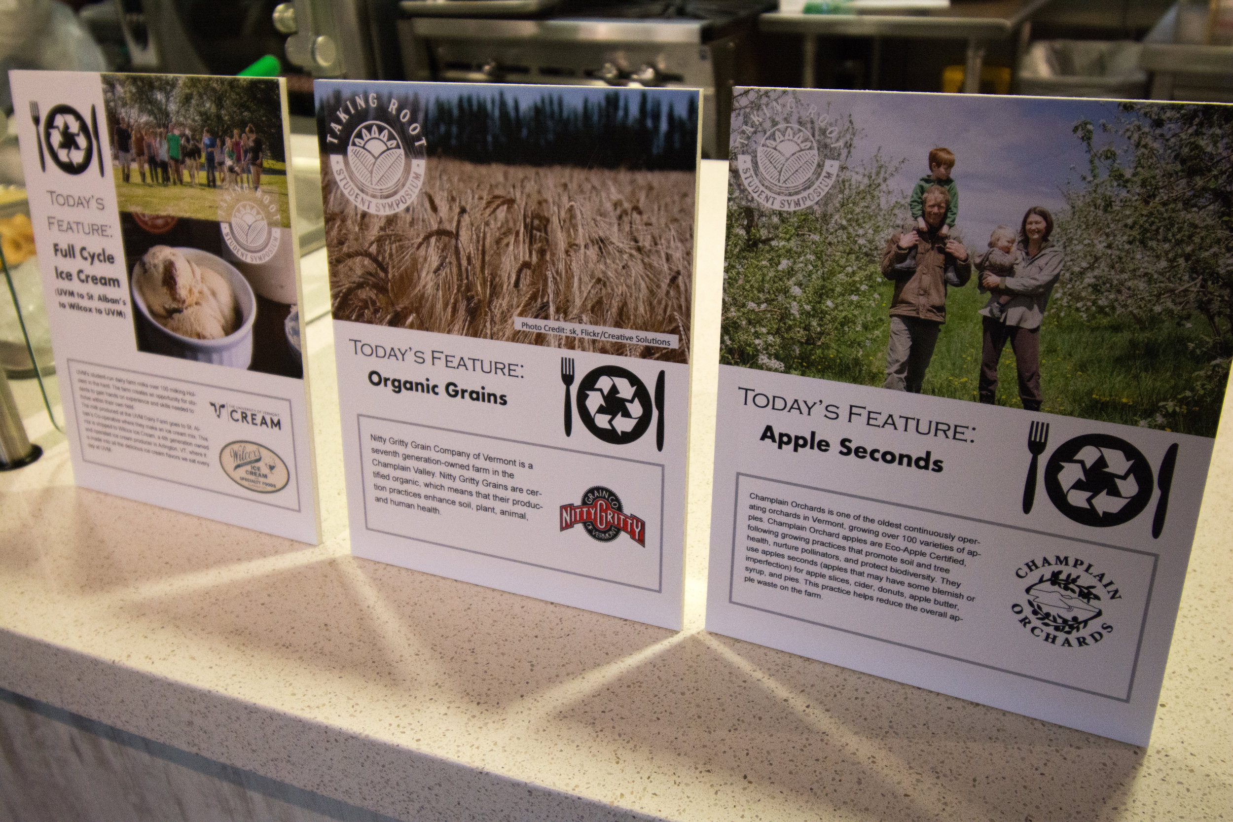 UVM Dining highlights the connection between food served at UVM cafeterias and the farms and food businesses where the food is produced.  Photo by Nate Stevens.