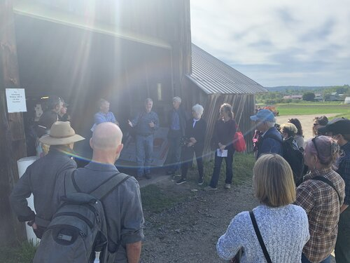THE high meadows fund board discusses food distribution with paul harlow, UVM Extension's Vern Grubinger, and other food system experts at harlow farm , just a few miles from food connects. image from high meadows.