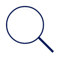 Navy blue magnifying glass icon