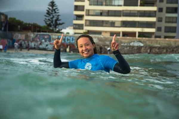 Autumn Hays of Santa Cruz celebrates earning her first win at a World Surf League event