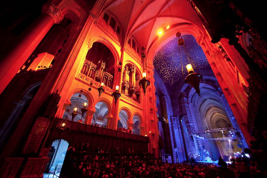 The Great Stage, designed by theatrical lighting designer, Steve Shelley, for the Winter Solstice Concert at Cathedral of St. John the Divine