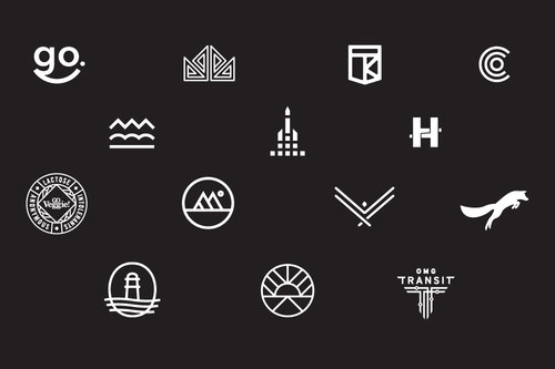 A collection of logo marks.