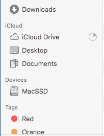 "Notice the partially filled circle to the right of ""iCloud Drive""…"