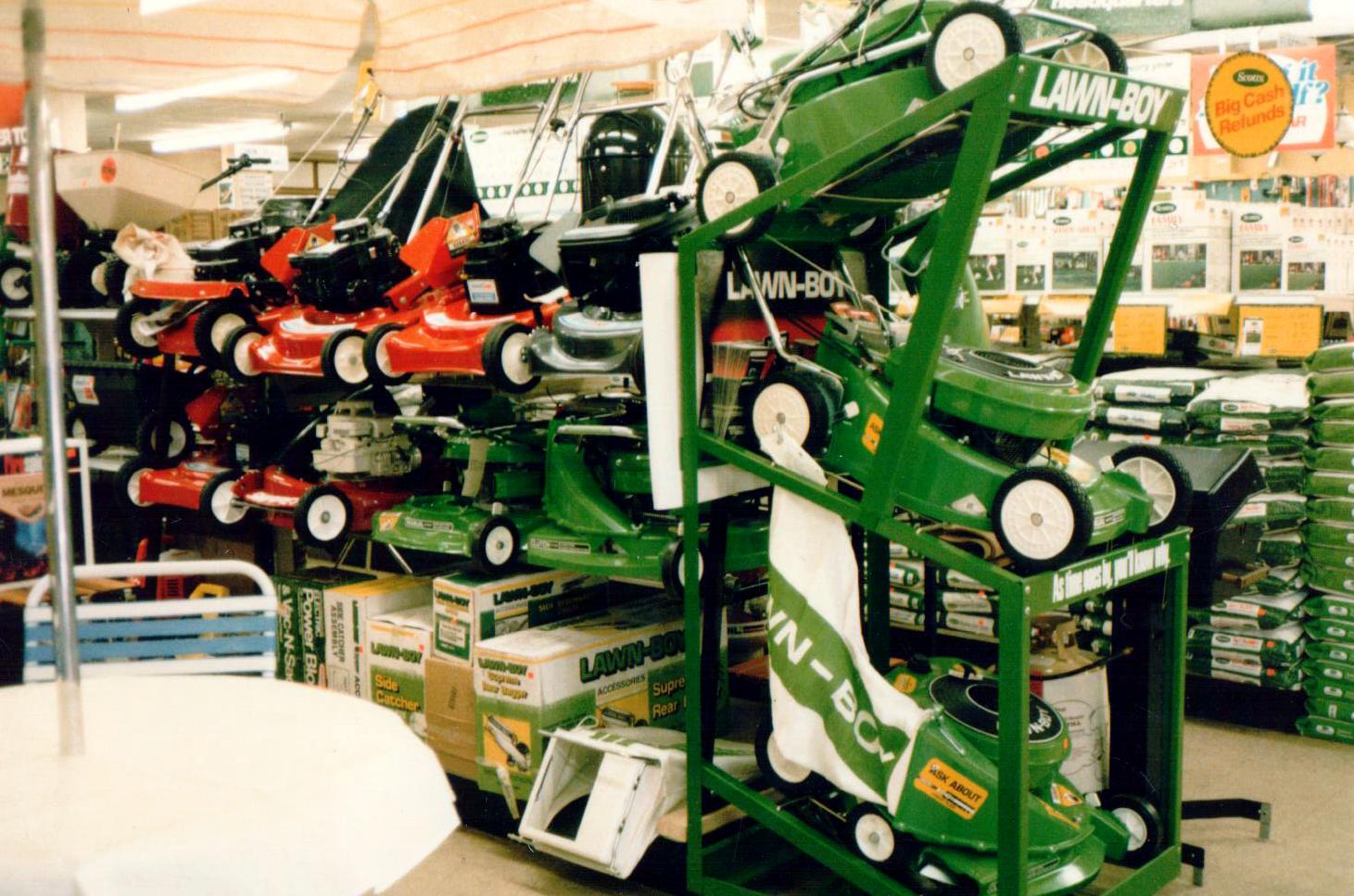 April 1966 - lawnboy mowers display.png