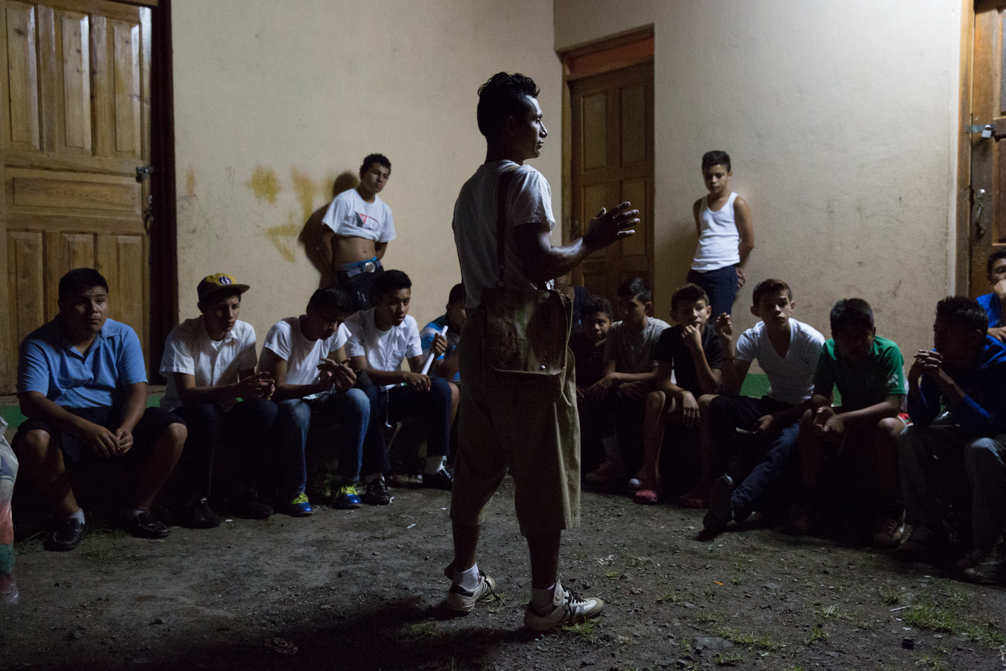 Jairo Blanchard (center) holds a meeting for local youth to join a soccer league in Matagalpa, Nicaragua.