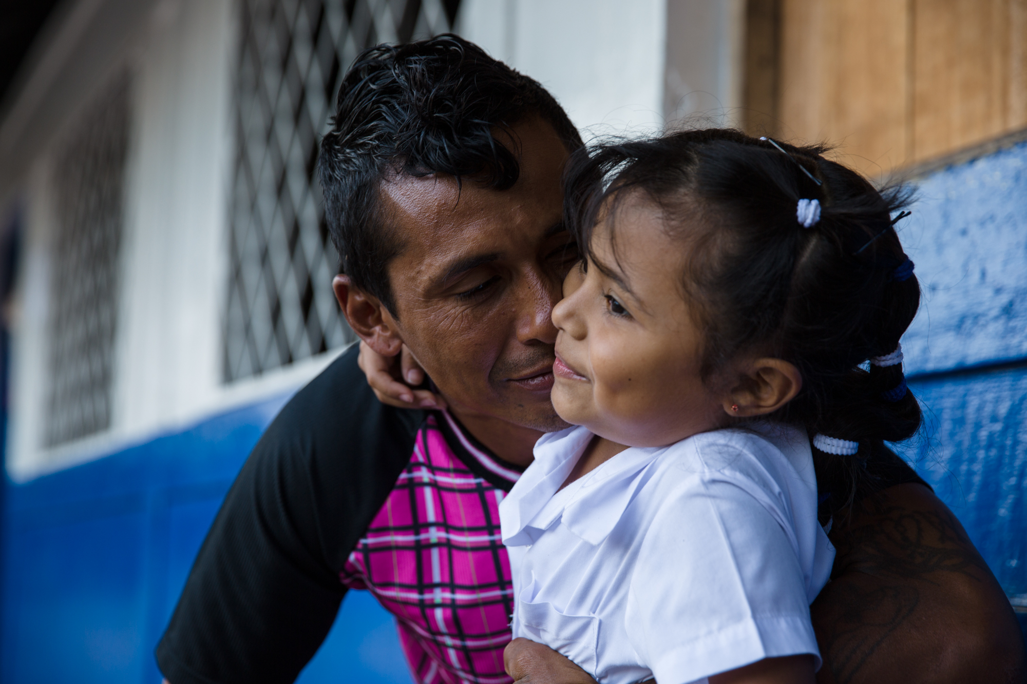 Jairo Blanchard greets his daughter at the end of the school day in Matagalpa, Nicaragua. His family is incredibly important to him and has helped him refocus his priorities and change his life.