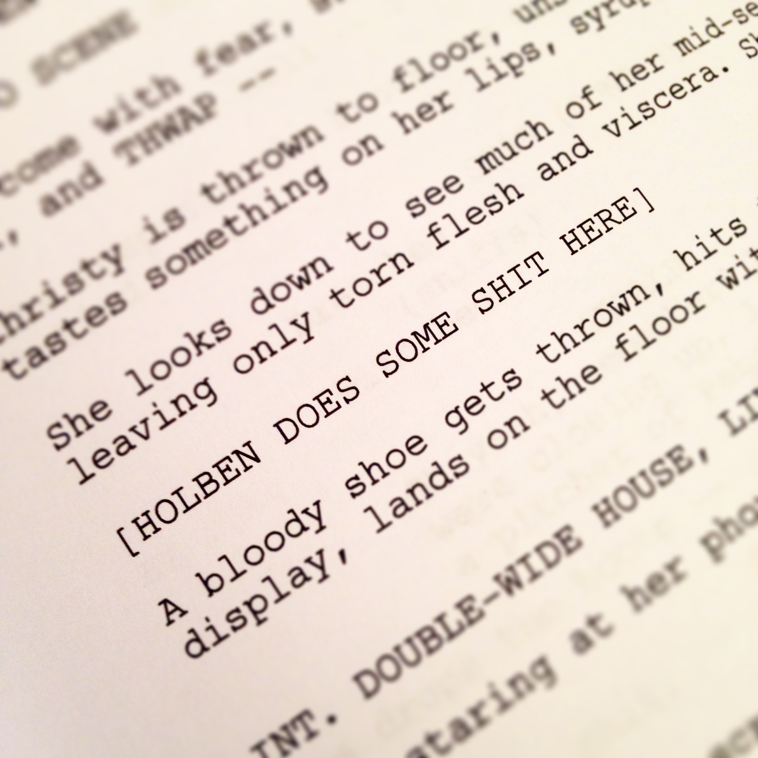 """A phenomenal line written in the first draft of """"Frostbite"""" by writer Bryan Stumpf showing extraordinary faith in Holben's directing to execute a critical moment."""