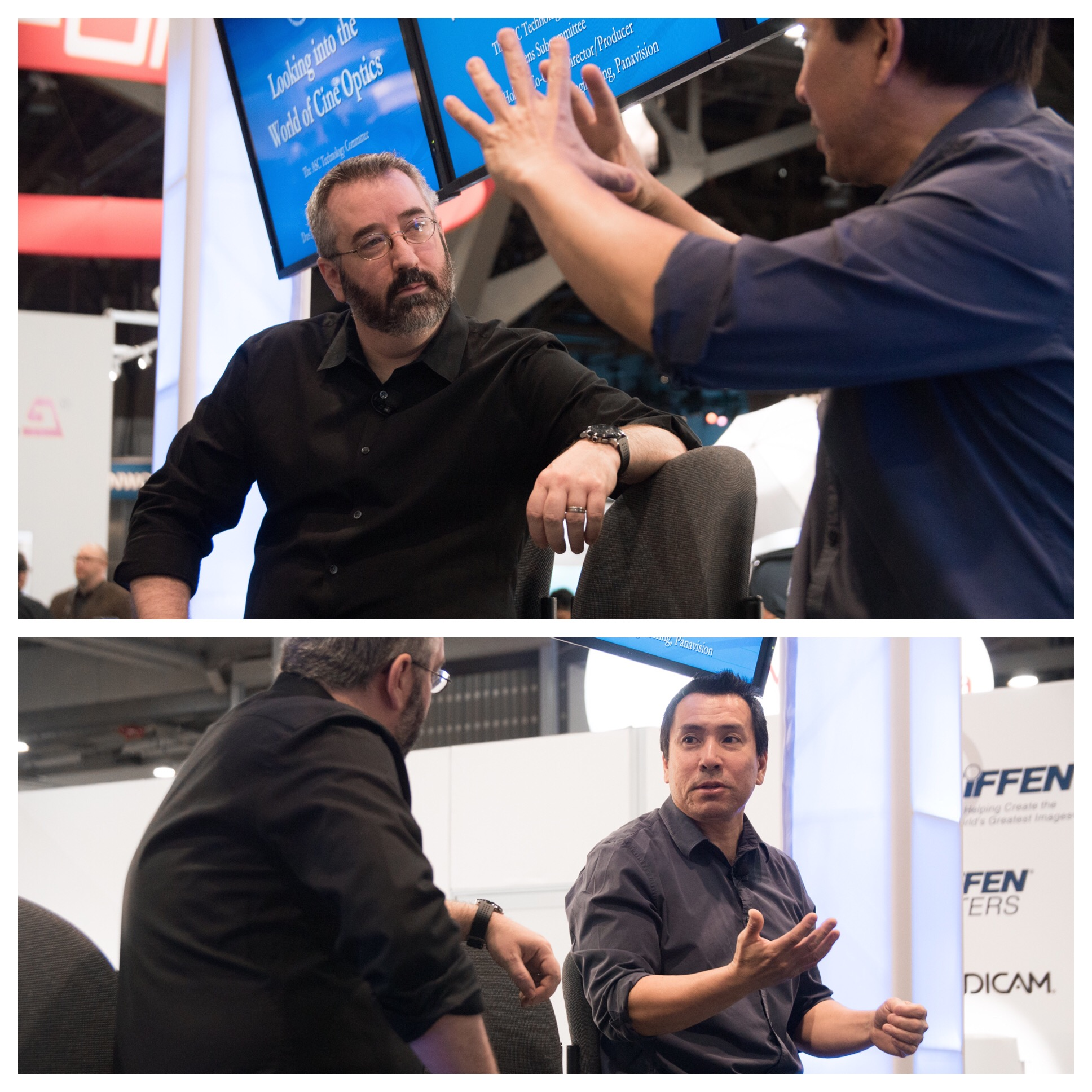 Holben and Vice President of Optical Engineering at Panavision Dan Sasaki discuss modern trends in optics at the National Association of Broadcasting Tiffen/ASC presentation.