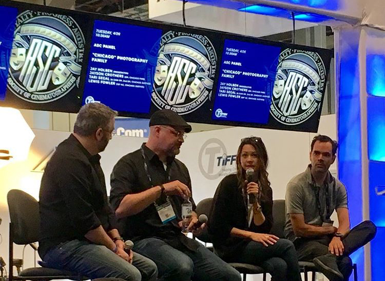 """Holben hosts a panel with """"Chicago Fire"""" cinematographer Jayson Crothers, """"Chicago Justice"""" 'A' Camera Operator and cinematographer and 1st Assistant Camera Lewis Fowler for the ASC/Tiffen presentation at NAB 2017."""
