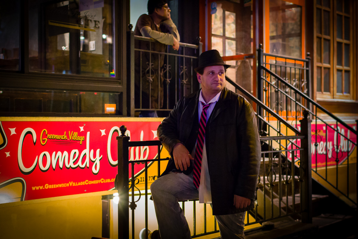 Chaddock, standing outside the  Greenwich Village Comedy Club  entrance