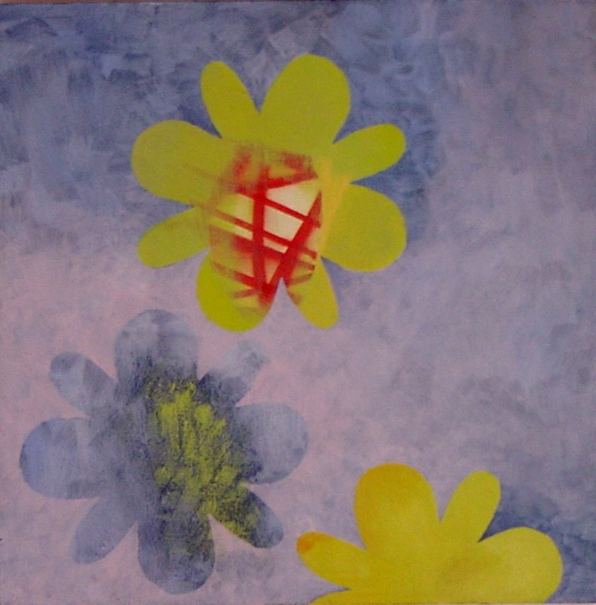 "flowers 4, 2004, oil on plywood, 20""x20"""