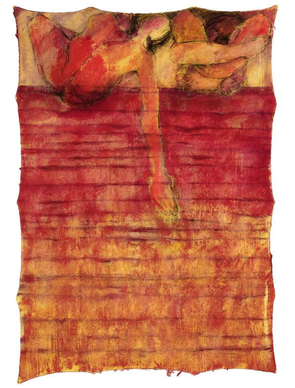 Between Cloth & Skin Series 2006. No.2 140 x 120cm. Acrylic on Calico