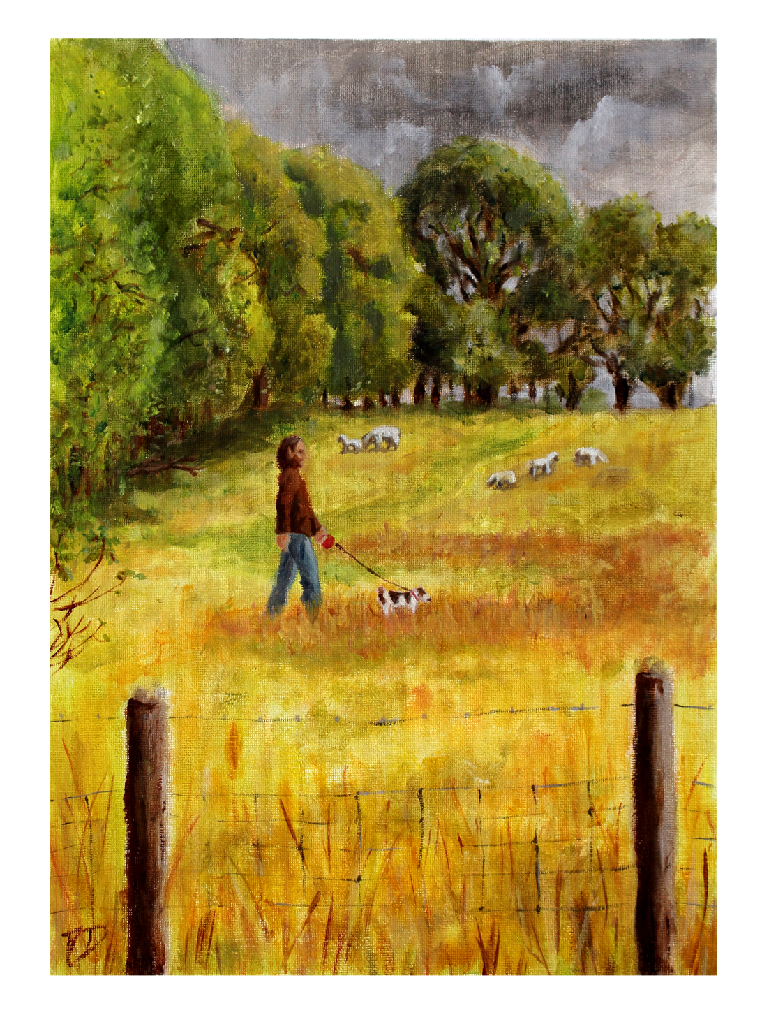Walking Through Fields Of Gold - Oil Painting