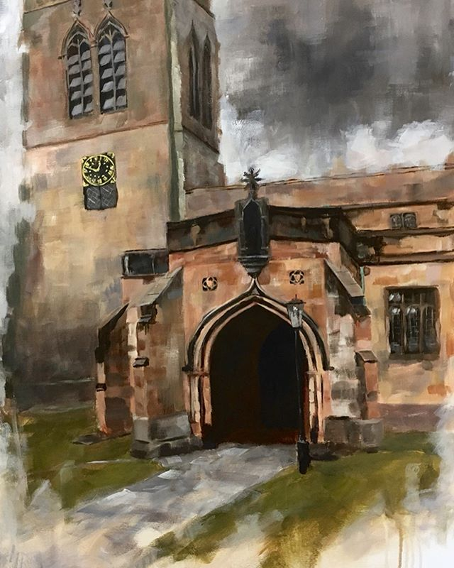 Cathedral of the Dales. Acrylic painting of St Stephen's Church in #kirkbystephen currently hanging in the T'aint Modern gallery. Prints available on my Etsy store and on @redbubble and @society6 #myart #acrylicpainting #artistsoninstagram #painting #architecture #building #church #cumbria #expressionism