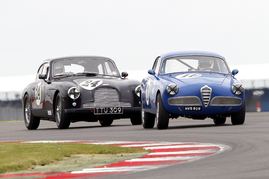 Peter Shaw in his Alfa Romeo Guiletta Sprint leads Nicholas Ruddell. Photo - Mick Walker