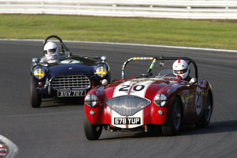 Andy Shepherd (Ac Ace) won this encounter as Jonathan Abecassis (Healey 100) preferred indulging in pirouettes!  Photo - Mick Walker