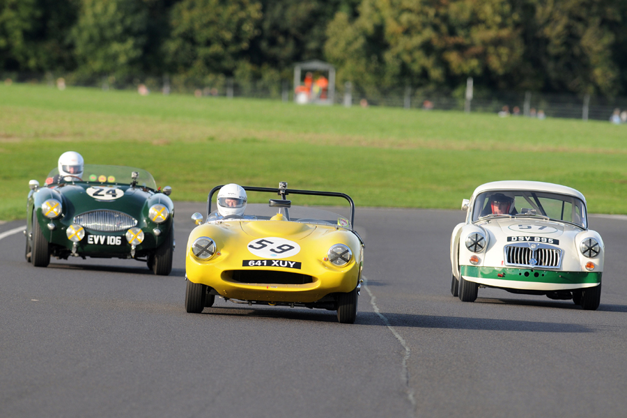 Great to see Rob Cobden out with us again in the rare and diminutive Fairthorpe Electron. Here in the company of the MGA of Simon Gurney and Healey 100S of David Large and Paul Woolmer