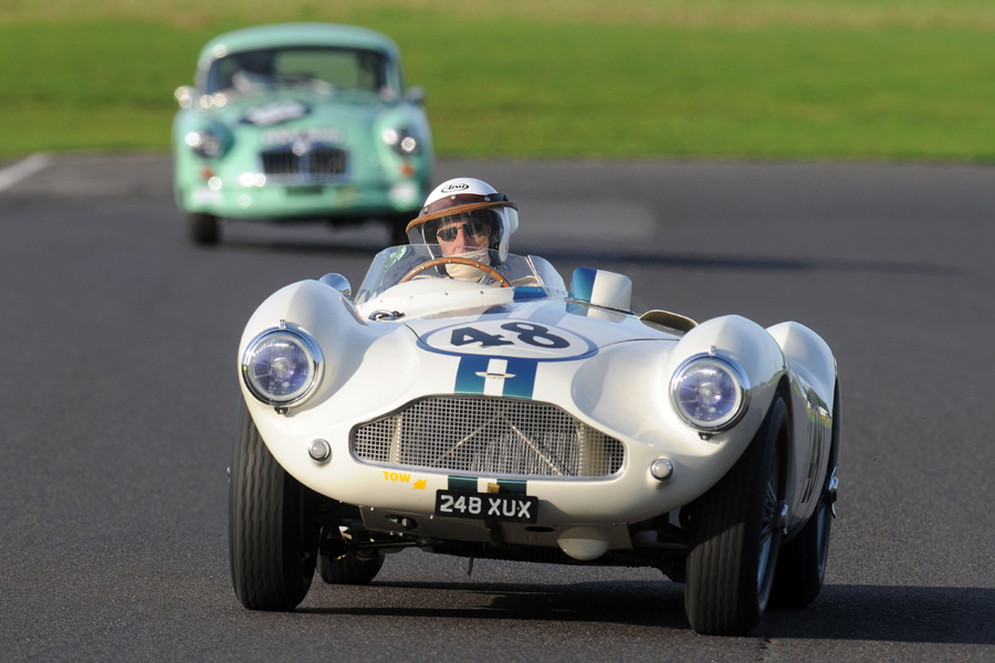 We were spoilt with two gorgeous DB3S cars; this is David Bennett on his way to 21st, 4 seconds ahead of Simon Moore's MGA, seen in the background.