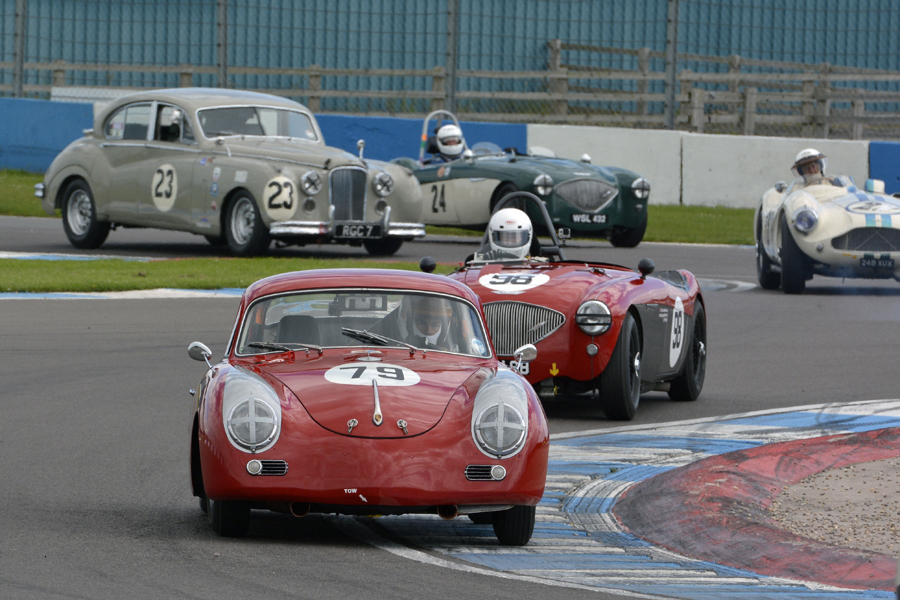 Steve Wright briefly starred in the Porsche.  Nick Matthews chasing.                               Photo - Steve Jones
